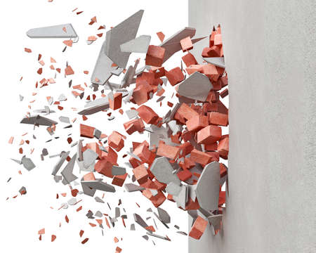 Destroying the wall with red bricks and white plaster, blowing pieces, on white background, 3d illustration Stock fotó