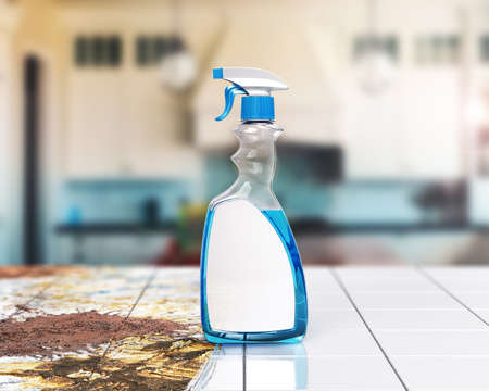 Detergent bottle on the half clean floor. 3d illustration Stock fotó