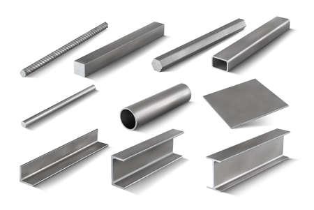 Set 5 of metal parts for metal structures. 3d vector illustration Illusztráció