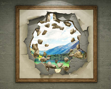 A hole in destroyed concrete wall behind the painting that leads to natural landscape, 3d illustration Stock fotó