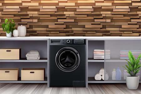 Black washing machine in a modern interior. 3d realistic vector illustration. Poster, background for advertising. Illusztráció