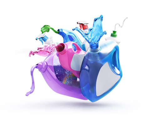 Different bottles with pouring detergent on a white background. 3d illustration