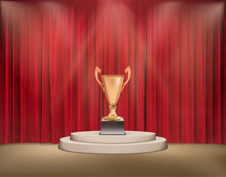 Gold award trophy on a pedestal with red curtains. vector illustration