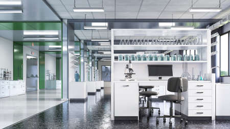 Laboratory interior with lab equipment. 3d illustration Stock fotó