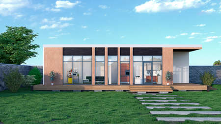 Exterior of modular house. 3d illustration