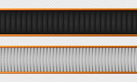 Conveyor belt top view. Realistic vector illustration