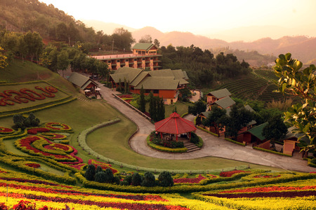 The hotel resort Maesalong Flower Hills in the mountain village Mae Salong in the hilly landscape north of Chiang Rai in Chiang Rai province in the north of Thailand in South East Asia