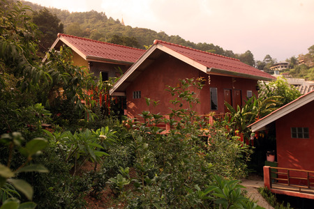 Hotel Bungalow in the mountain village Mae Salong in the hilly landscape north of Chiang Rai in Chiang Rai province in the north of Thailand in South East Asia photo