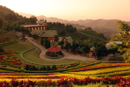 The hotel resort Maesalong Flower Hills in the mountain village Mae Salong in the hilly landscape north of Chiang Rai in Chiang Rai province in the north of Thailand in South East Asia photo