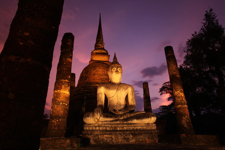 Evening mood with the Buddha at Wat Sa Si temple in the temple complex of Old Sukhothai Province Sukhothai in the north of Thailand in South East Asia photo