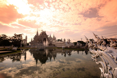 The temple Wat Rong Khun 12 km south of Chiang Rai province chiang Rai in northern Thailand in Southeast Asia