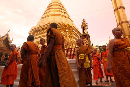 Moench evening conditioning of Wat Phra That Doi Suthep in Chiang Mai in Chiang Mai province in northern Thailand in Southeast Asia