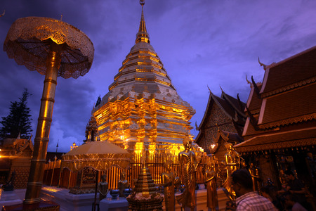 The chedi of the temple complex of Wat Phra That Doi Suthep in Chiang Mai in Chiang Mai province in northern Thailand in Southeast Asia