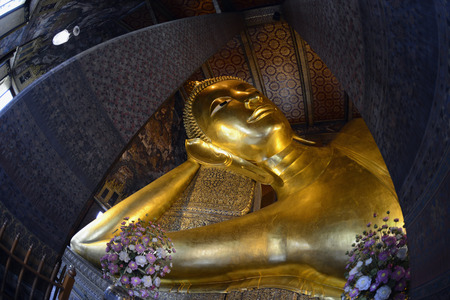 The Big Reclining Buddha at Wat Pho temple in the city of Bangkok in Thailand in Southeast Asia