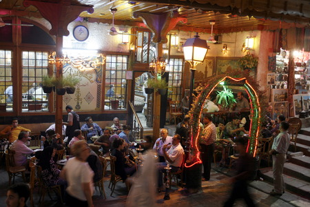 damascus: A traditional cafe in the old city of Damascus Souq and in the capital of Syria