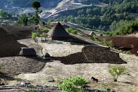 The mountain landscape in the mountain village of Maubisse south of Dili in East Timor on the island of Timor separated into two in Asia