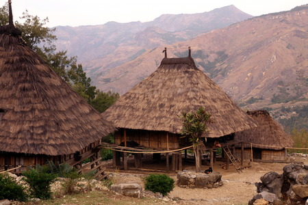 A traditional house in the mountain village of Maubisse south of Dili in East Timor on the island of Timor separated into two in Asia