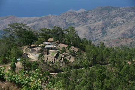 The landscape above Dili the capital of East Timor on the island of Timor separated into two in Asia Reklamní fotografie