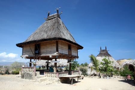 A house at Lantem on the north coast of East Timor on the island of Timor separated into two in Asia Redakční