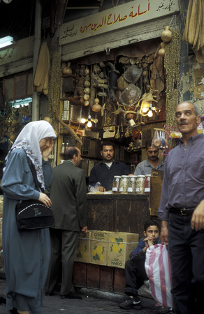 damascus: On the Souq or market in the Old City of Damascus the capital of Syria