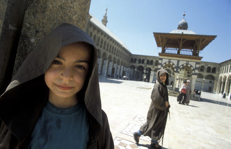 damascus: The Umayyad Mosque in the old city of Damascus the capital of Syria