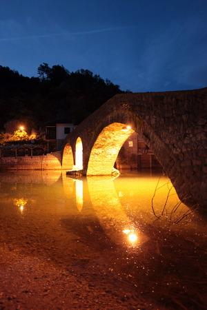 ini: The landscape with the stone bridge on the banks of Skadar Lake Skadar or Jezero ini Rijeka crnojevica in Montenegro in Europe