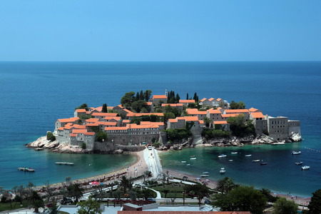 The hotel island Sveti Stefan on the Mediterranean coast in Montenegro in the Balkans in Eastern Europe