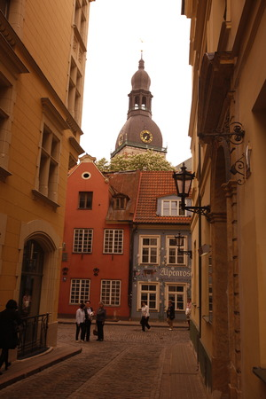 europe eastern: Europe, Eastern Europe, Baltic States, Latvia, Riga, Old Town, alley, architecture, cathedral, church,