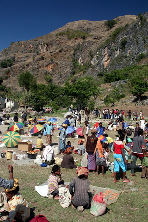 The weekly market in the mountain village Aituto south of Dili in East Timor on the island of Timor separated into two in Asia