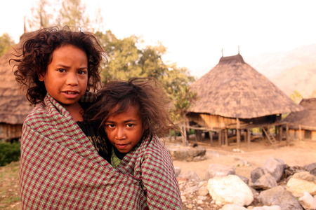 Children in a farming village in the mountain village of Maubisse south of Dili in East Timor on the island of Timor separated into two in Asia Redakční