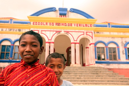 School children in front of the Colonial schoolhouse in Venilale in Zental East Timor on the island of Timor separated into two in Asia