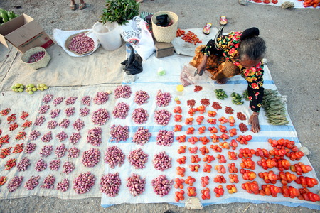 The weekly market in Lospalos in East Timor on the island of Timor separated into two in Asia Redakční
