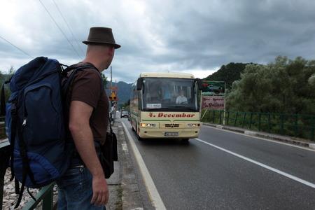 europe eastern: Europe, Eastern Europe, Balkans, Montenegro, Skadar Lake, Landscape, Virpazar, street car stop, tourist, transport, Editorial