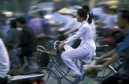 mekong: Schuelerinnen on the way to school in the city of Can Tho in the Mekong Delta of Vietnam in Southeast Asia in the sueden Editorial