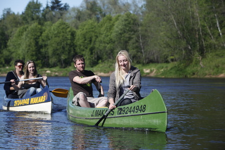 gauja: Canoeing on the River Gauja in Sigulad east of Riga, capital of Latvia in the Baltic states in Eastern Europe