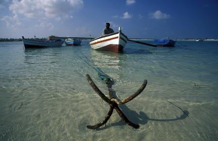 ferien: Ein Sandstrand auf der Insel Jierba im Sueden von Tunesien in Nordafrika.