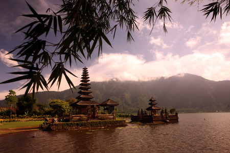 bratan: the Temple Puru Ulun Danu at the Lake Bratan an the the landscape on the Island Bali in Indonesia
