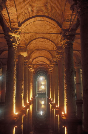 The Sunken Cistern Basilica in Sultanahmet in Istanbul TURKEY