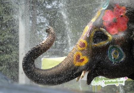ソンクラーン祭りやタイの正月「水祭り」は、本格的に東南アジア タイ アユタヤ バンコクの北 写真素材