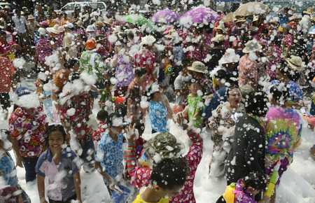 The Songkran festival or Thai New Year water festival to be in full swing north of Bangkok in Ayutthaya Thailand in Southeast Asia