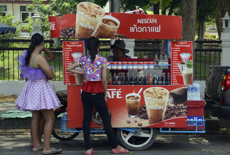 nestle: The Songkran festival or Thai New Year water festival to is in full swing north of Bangkok in Ayutthaya Thailand in Southeast Asia