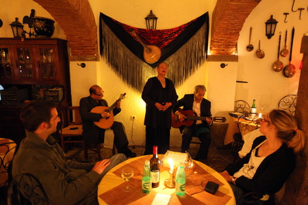 A Fado restaurant in an alley in the old town of Alfama in the downtown area of the capital city of Lisbon in Portugal Editorial