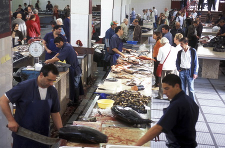 city fish market: The market in the market hall in the capital Funchal on the island of Madeira in the Atlantic Ocean