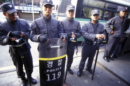 live work city: Police in the capital Seoul in South Korea in East Asia