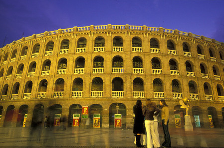 plaza de toros: The Aussenfasade of bullfighting stadium with the Plaza de Toros in the city of Valencia in the dusk