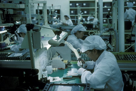 An Electronic Factory in the city of Kaohsiung in Gros sueden the island of Taiwan Editorial