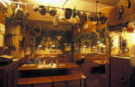 czechia: A beer hall and restaurant in the old town of Prague, the capital of the Czech Republic Editorial