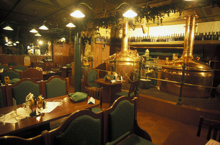 A beer hall and restaurant in the historical center of Prague, the capital of the Czech Republic Editorial