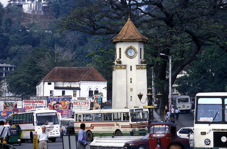 kandy: The clock tower in the center of Kandy in the Central Gebierge of Sri Lanka Editorial