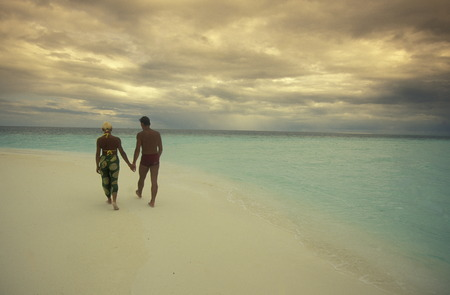 south male atoll: The Dream beach with palm trees and white sand on the island Velavaru in the South Male Atoll in the islands of the Maldives in the Indian Ocean
